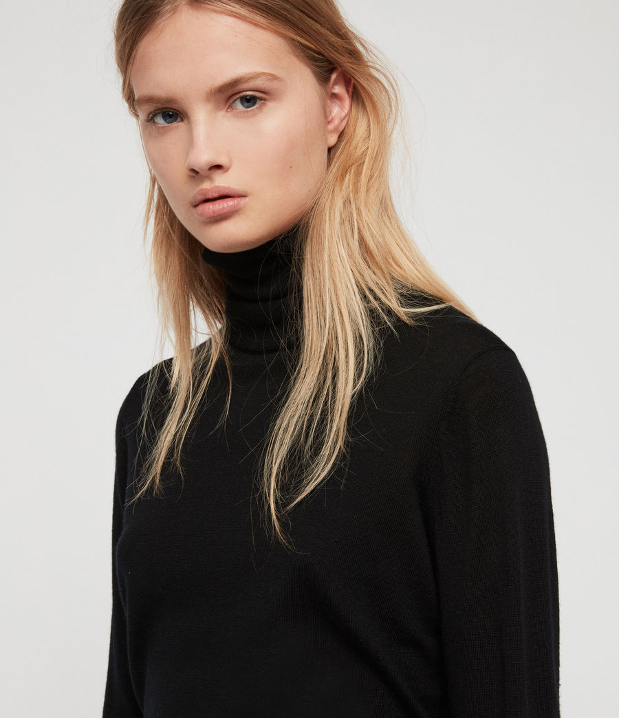 Womens Ira Roll Neck Sweater (black) - Image 2