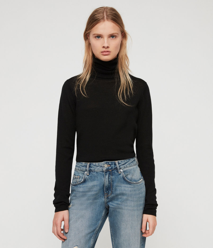 Womens Ira Roll Neck Sweater (black) - Image 4