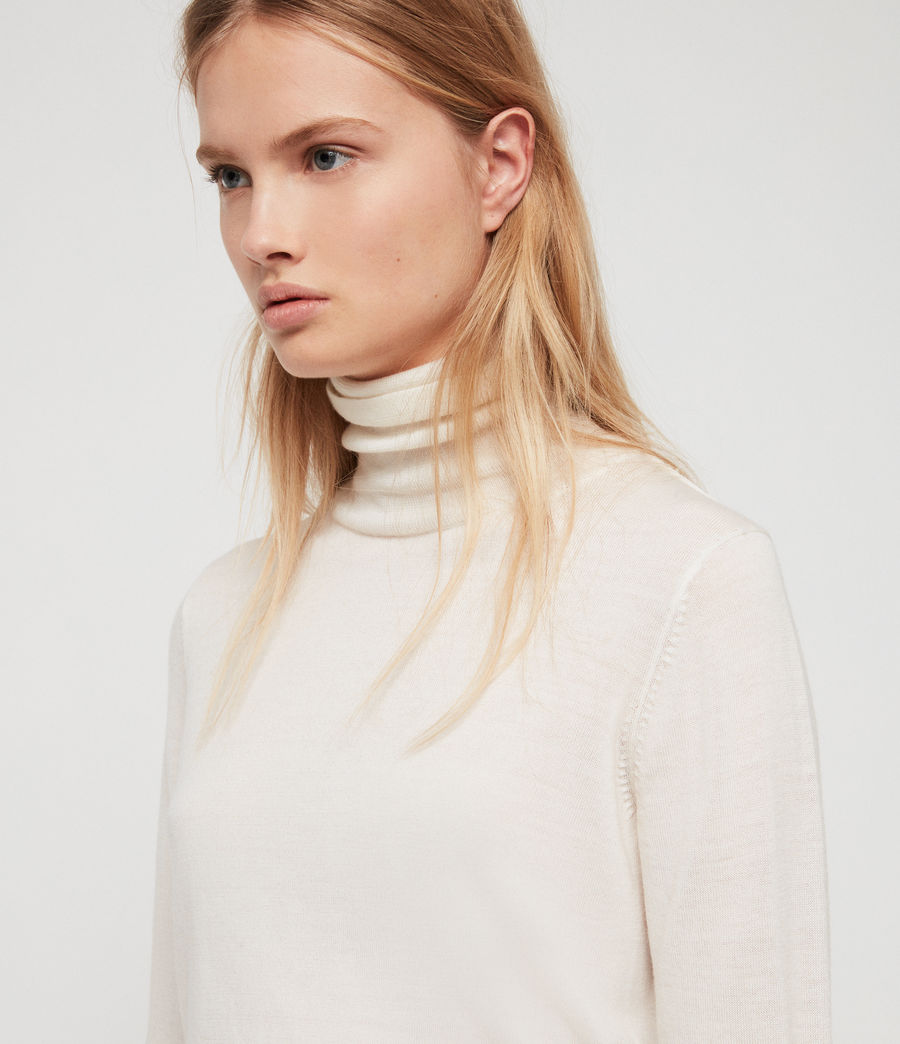 Women's Ira Roll Neck Jumper (ivory_white_marl) - Image 2