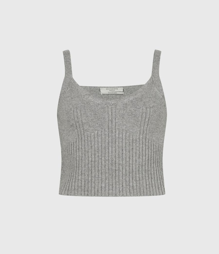 Womens Ivana Cashmere Blend Crop Top (pale_grey_marl) - Image 2