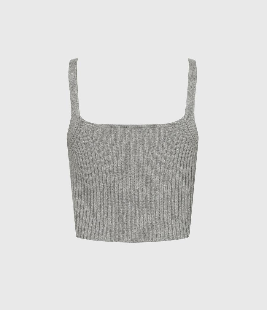 Womens Ivana Cashmere Blend Crop Top (pale_grey_marl) - Image 3