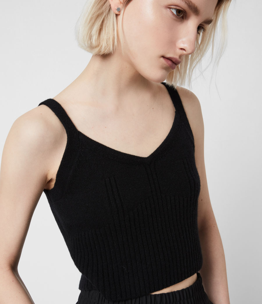 Women's Ivana Cashmere Blend Crop Top (black) - Image 4