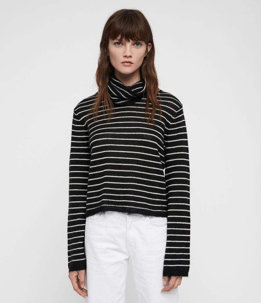 Mujer Marty Roll Neck Sweater (black_white) - Image 1