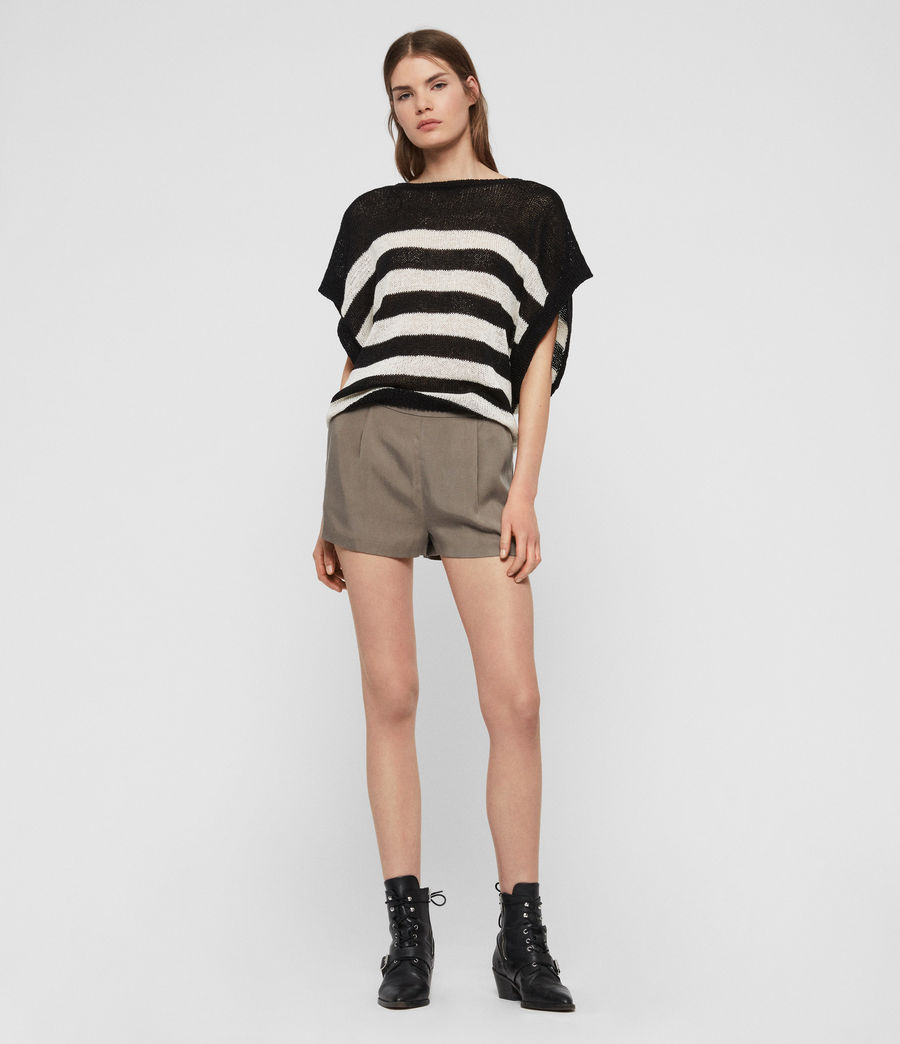 Women's Carova Stripe T-Shirt (antiquewhite_black) - Image 2