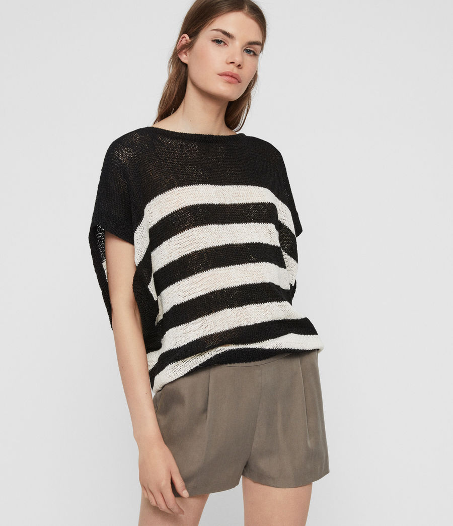 Women's Carova Stripe T-Shirt (antiquewhite_black) - Image 3