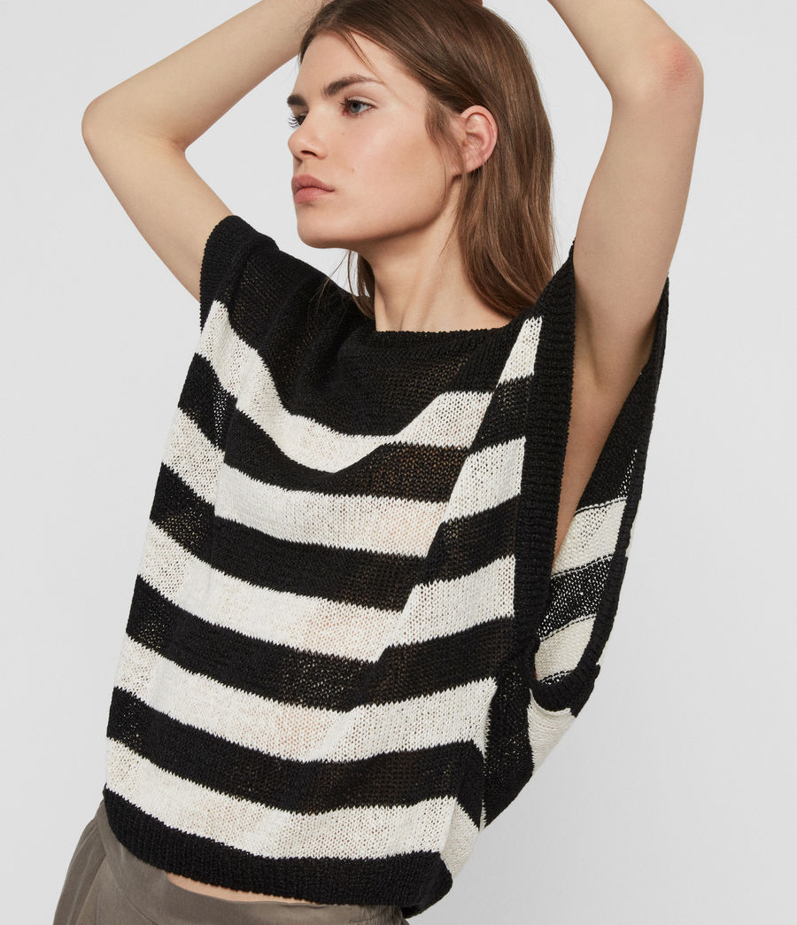Women's Carova Stripe T-Shirt (antiquewhite_black) - Image 4