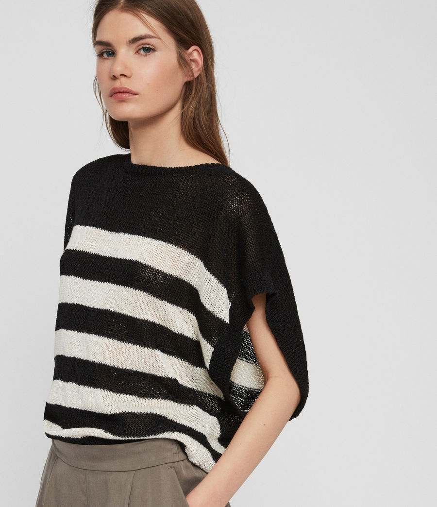 Women's Carova Stripe T-Shirt (antiquewhite_black) - Image 5