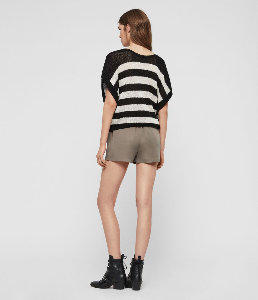 Women's Carova Stripe T-Shirt (antiquewhite_black) - Image 6