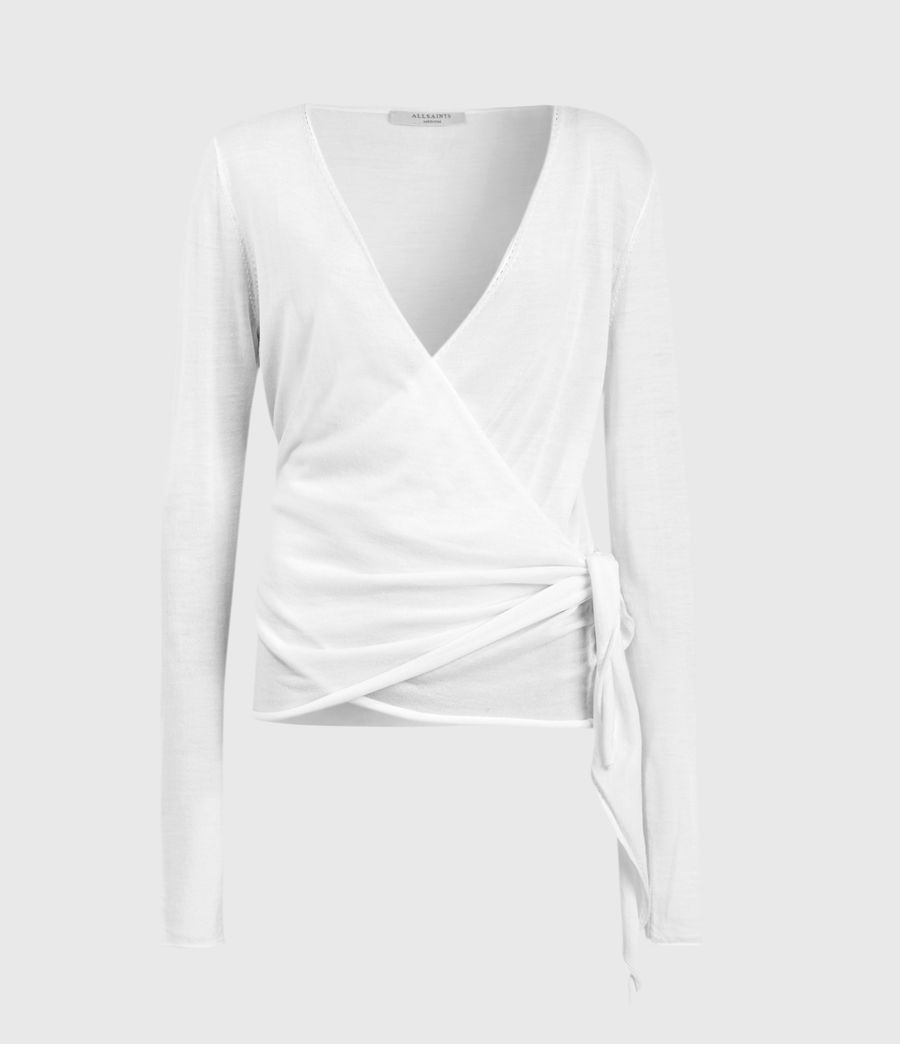 Women's Lonia Merino Wool Wrap Cardigan (white) - Image 1