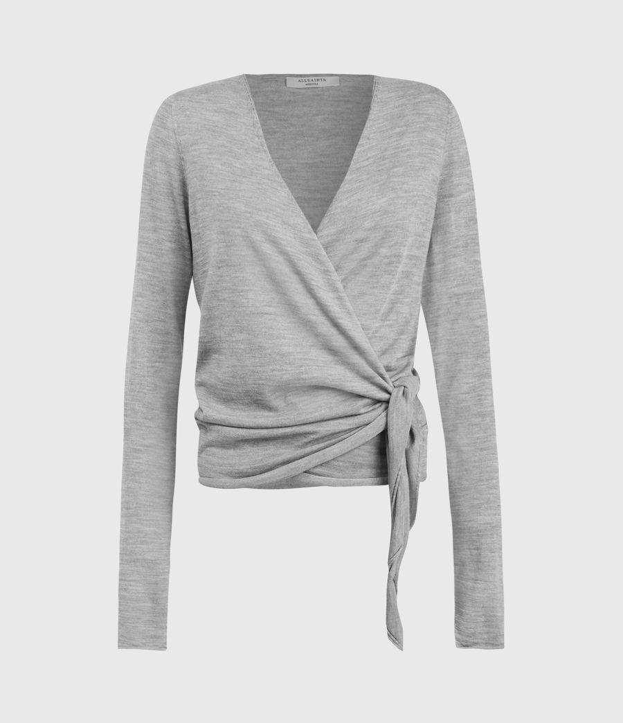 Mujer Lonia Merino Wool Wrap Cardigan (grey_marl) - Image 1