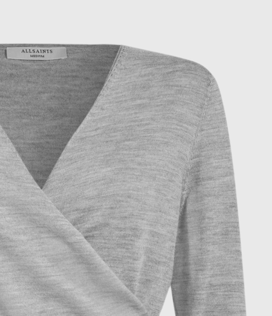 Mujer Lonia Merino Wool Wrap Cardigan (grey_marl) - Image 3
