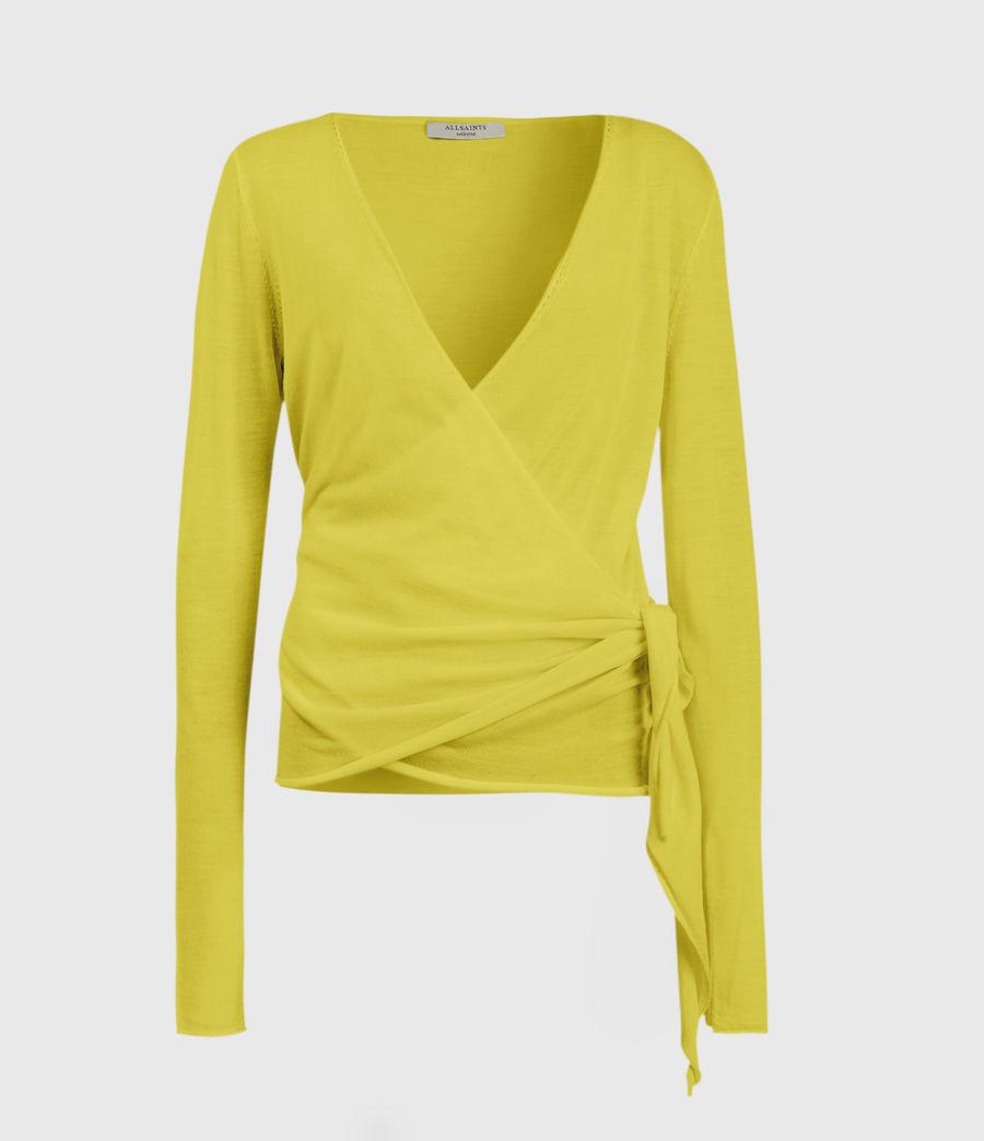Mujer Lonia Merino Wool Wrap Cardigan (chartreuse_yellow) - Image 1