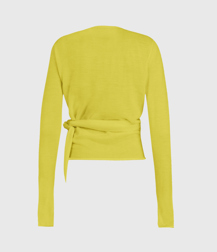 Mujer Lonia Merino Wool Wrap Cardigan (chartreuse_yellow) - Image 2