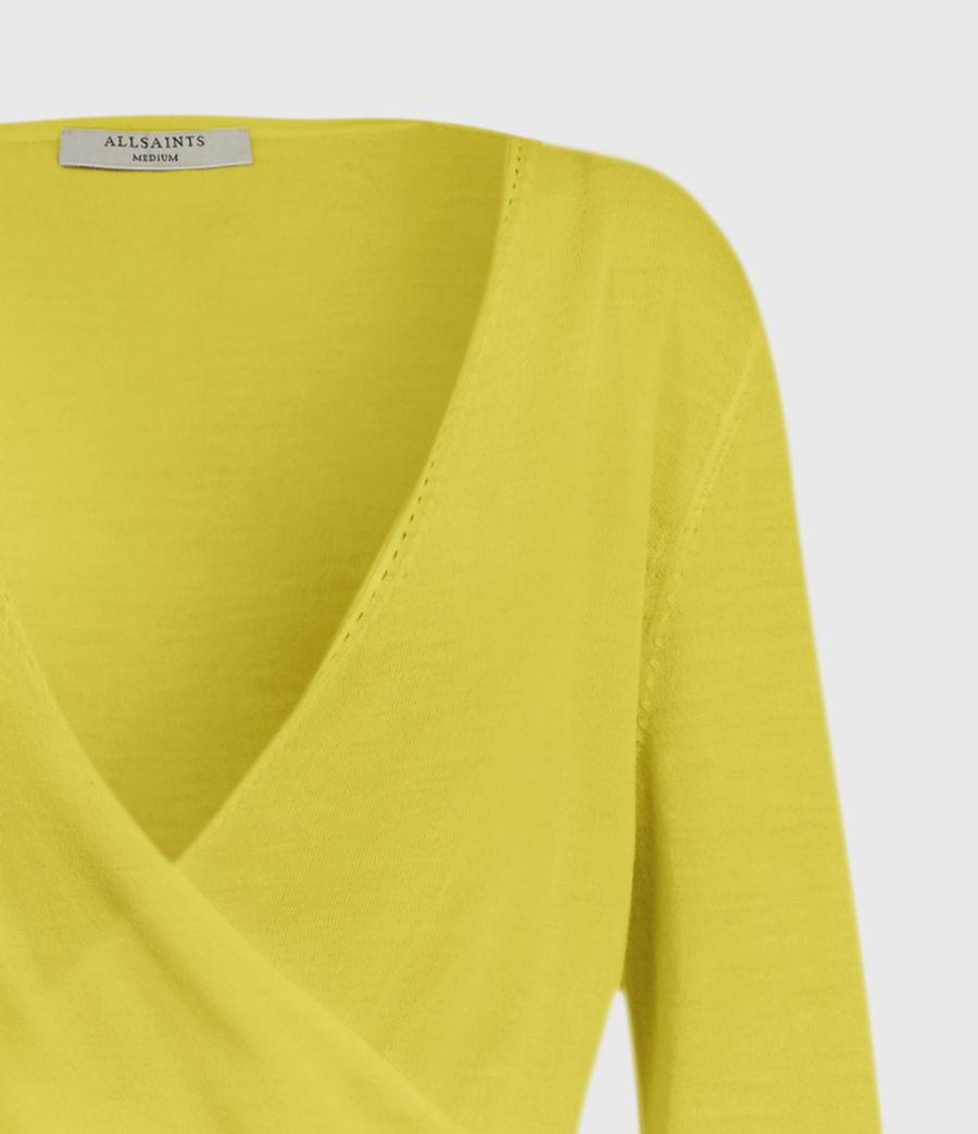 Mujer Lonia Merino Wool Wrap Cardigan (chartreuse_yellow) - Image 3
