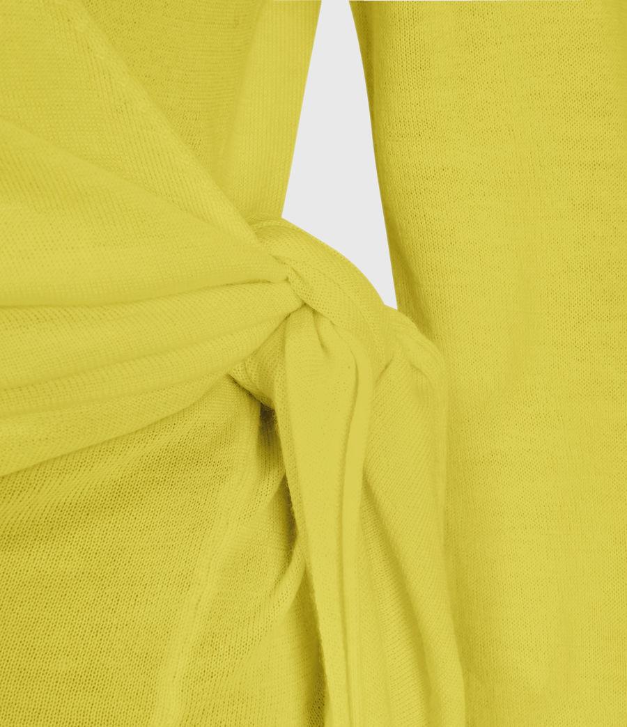 Mujer Lonia Merino Wool Wrap Cardigan (chartreuse_yellow) - Image 4