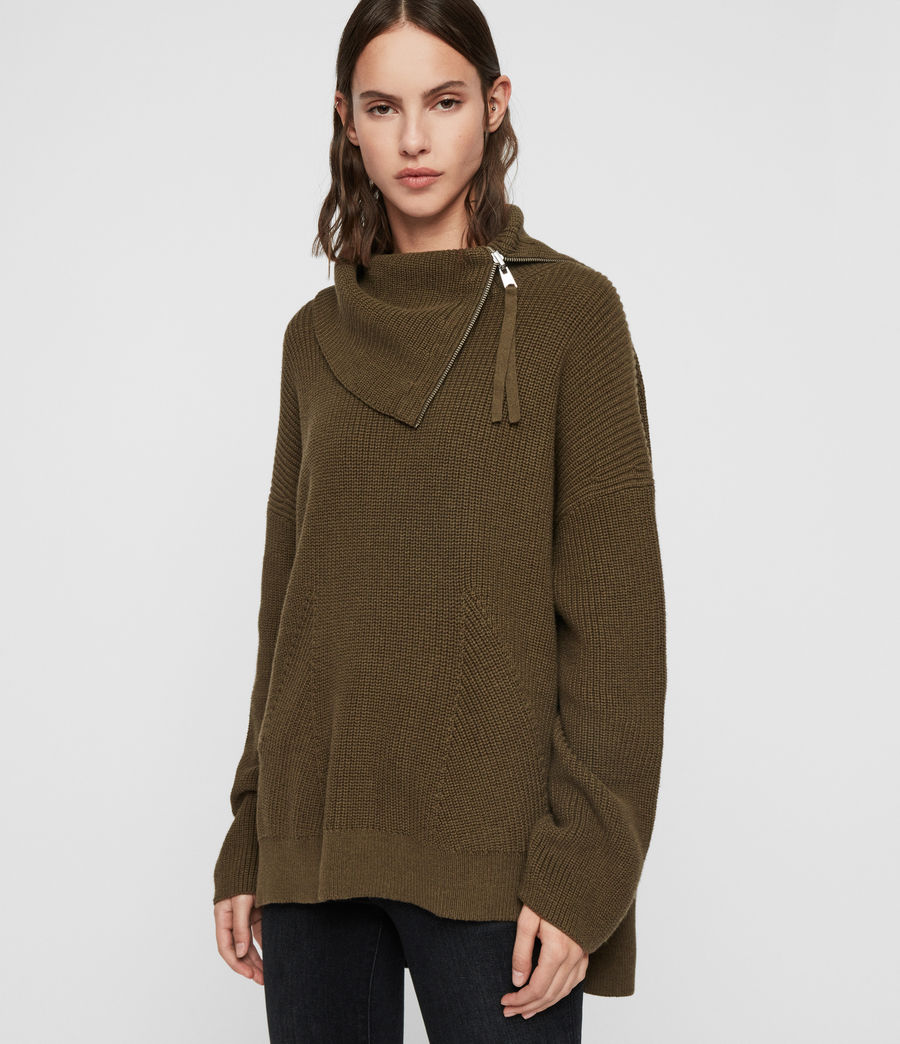 Womens Kadine Roll Neck Sweater (military_green) - Image 1