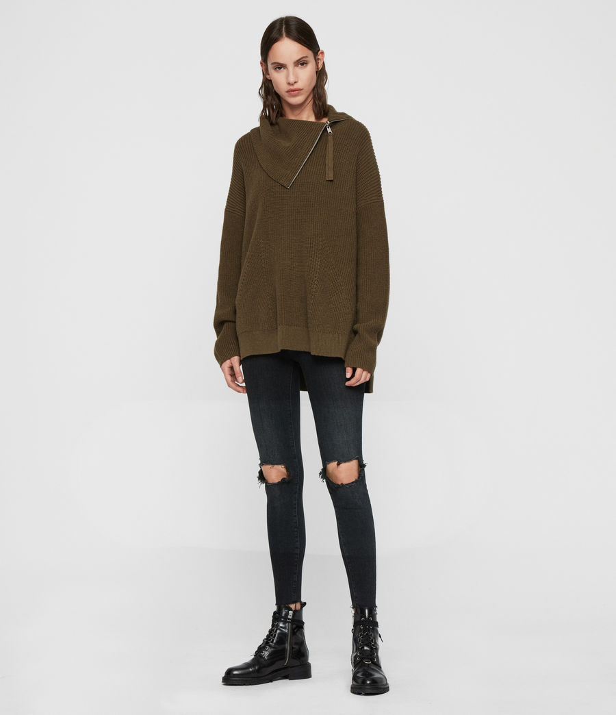 Womens Kadine Roll Neck Sweater (military_green) - Image 3