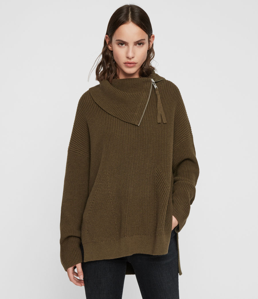 Womens Kadine Roll Neck Sweater (military_green) - Image 4