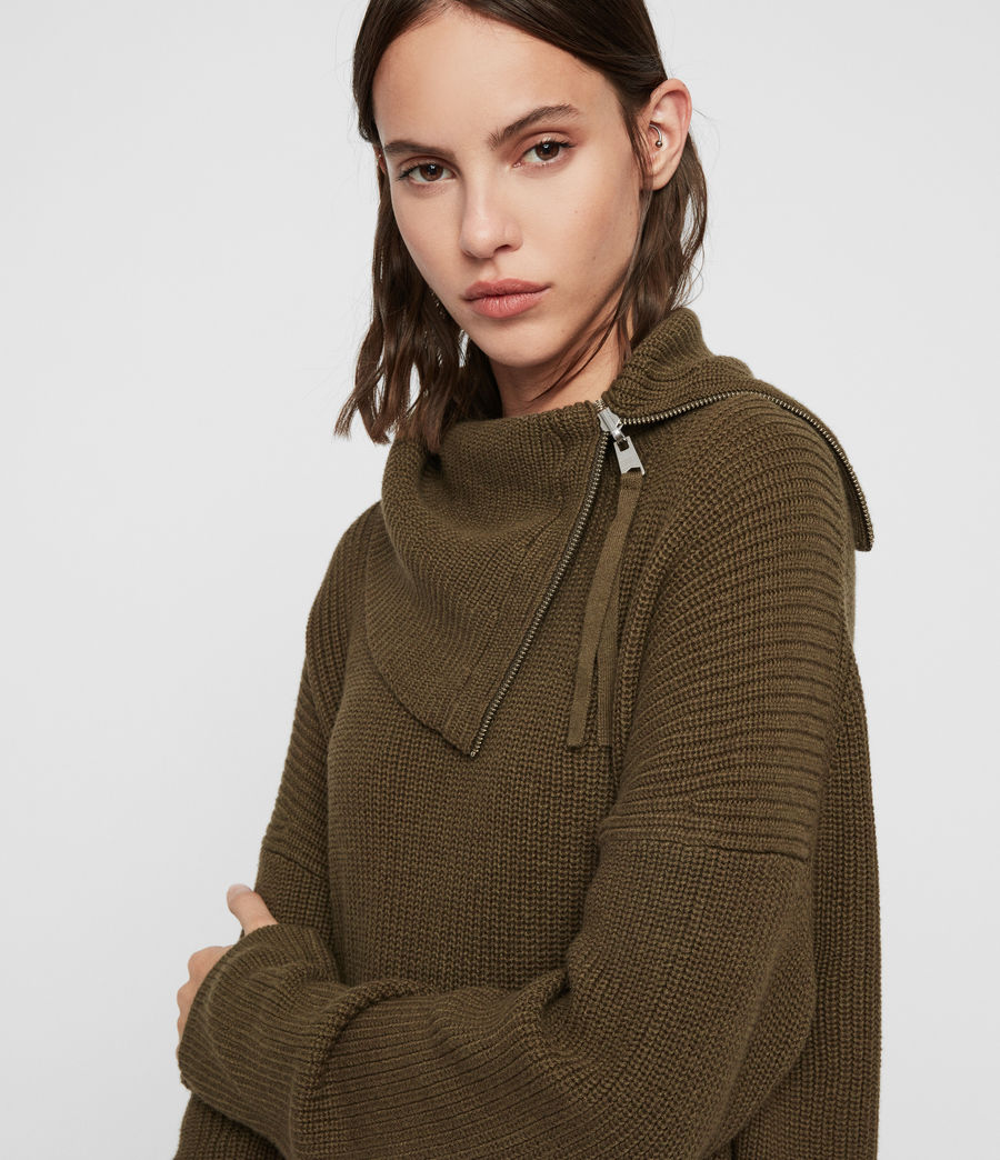 Womens Kadine Roll Neck Sweater (military_green) - Image 5