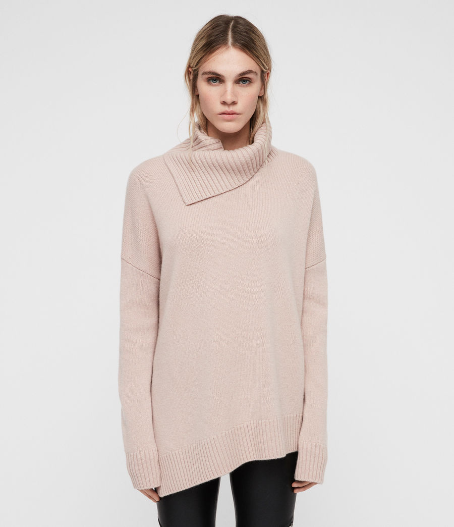 Womens Witby Roll Neck Sweater (whisper_pink) - Image 1