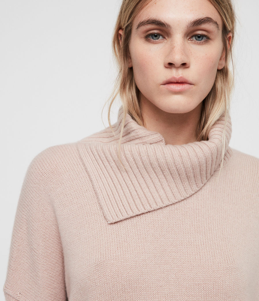 Womens Witby Roll Neck Sweater (whisper_pink) - Image 2