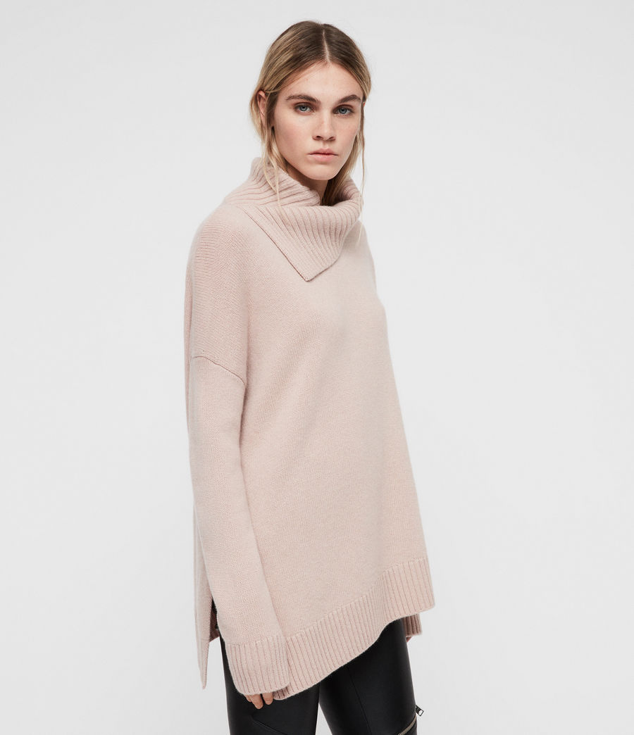 Womens Witby Roll Neck Sweater (whisper_pink) - Image 4
