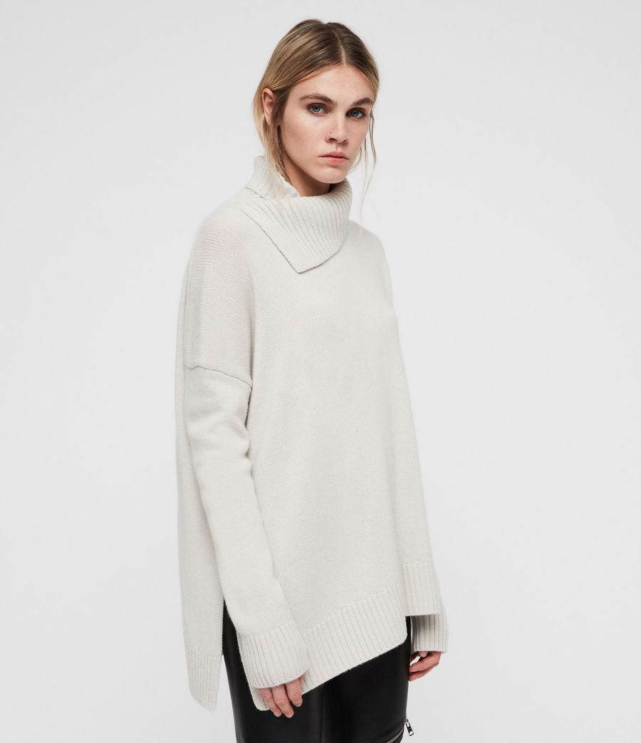 Women's Witby Roll Neck Jumper (porcelain_white) - Image 3