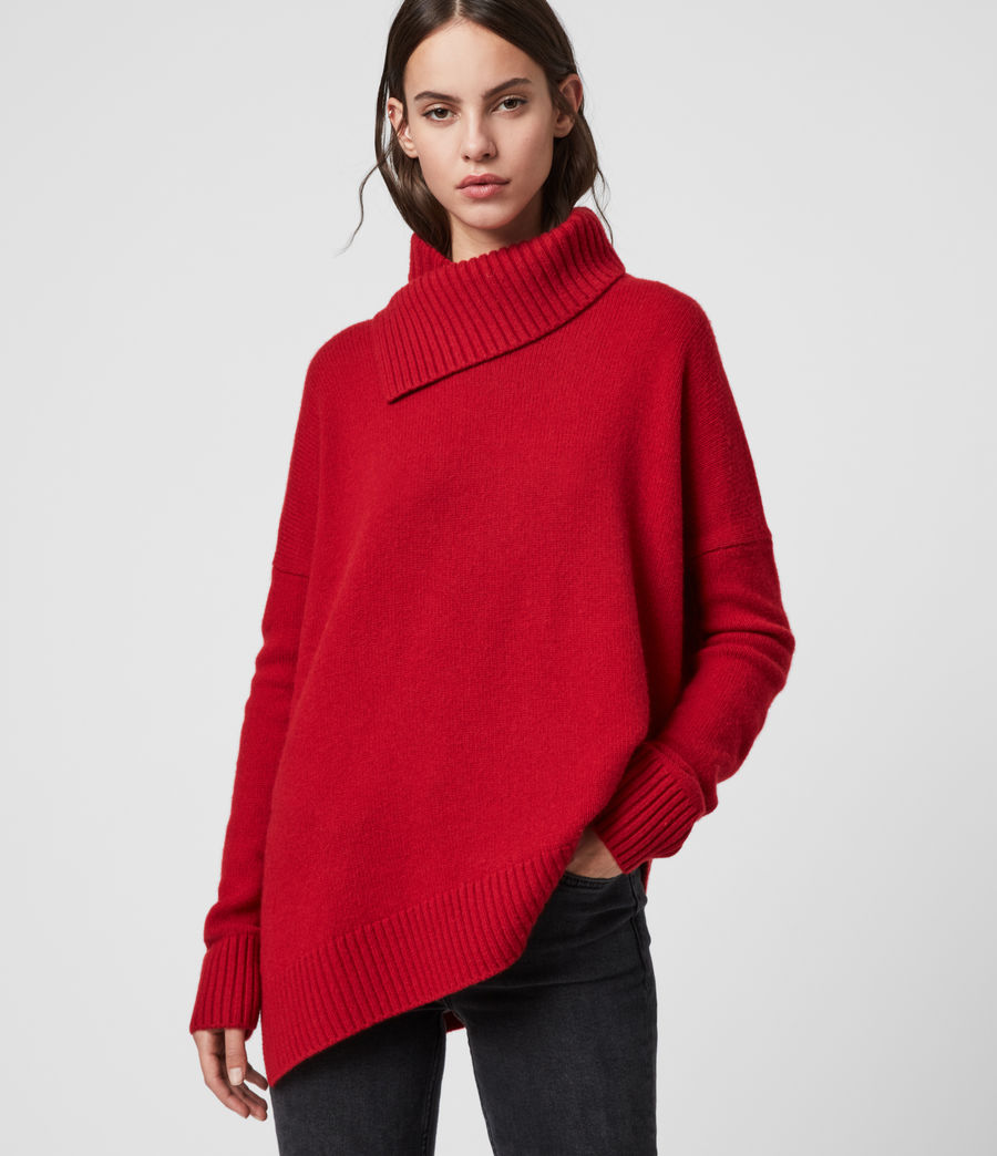 Women's Witby Roll Neck Cashmere Jumper (light_grey_marl) - Image 1