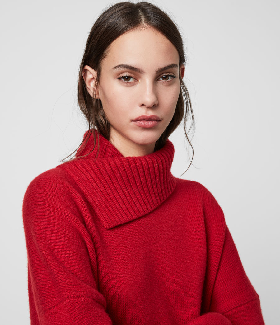 Women's Witby Roll Neck Cashmere Jumper (light_grey_marl) - Image 2