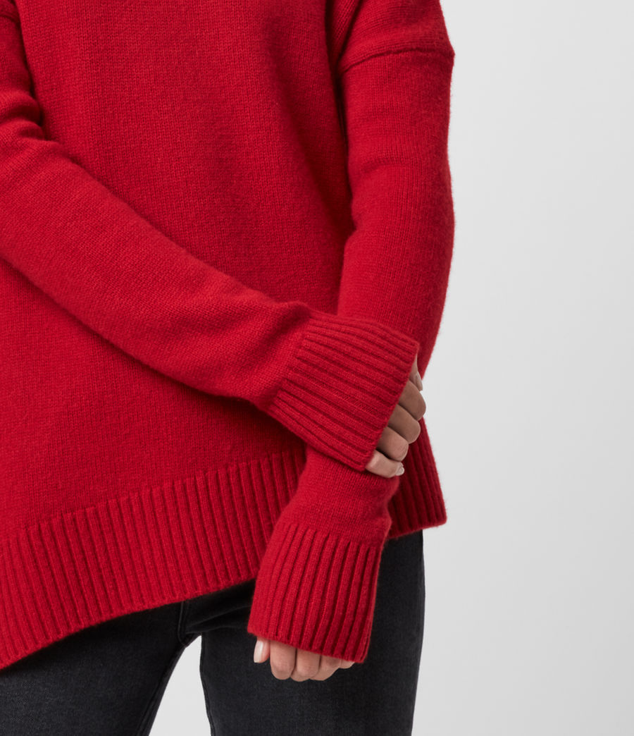 Women's Witby Roll Neck Cashmere Jumper (light_grey_marl) - Image 3