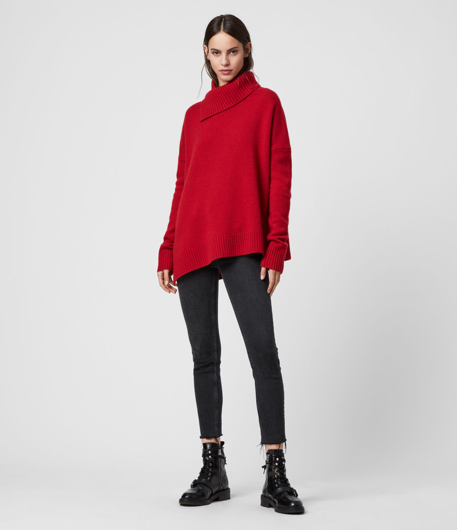 Women's Witby Roll Neck Cashmere Jumper (light_grey_marl) - Image 4