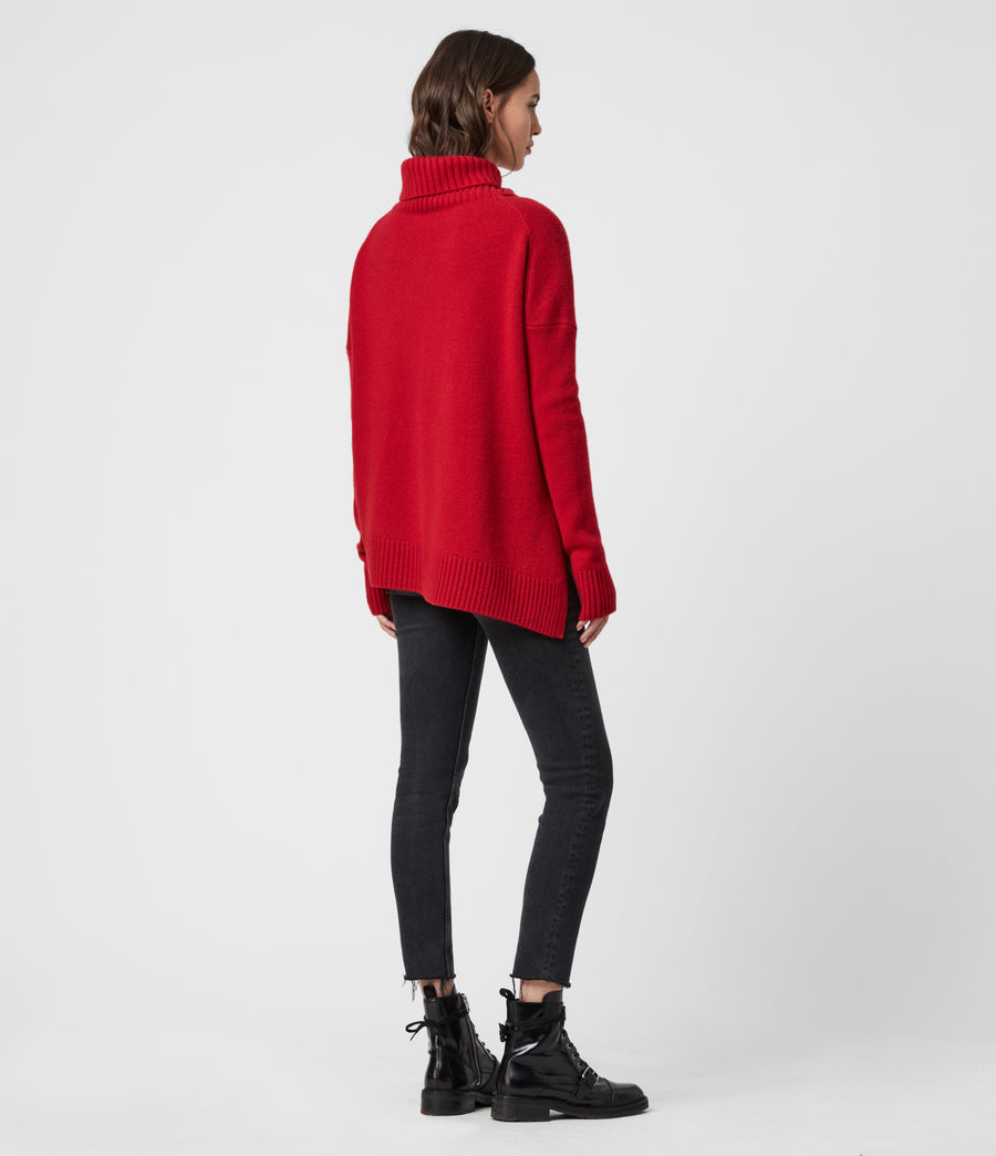 Women's Witby Roll Neck Cashmere Jumper (light_grey_marl) - Image 6