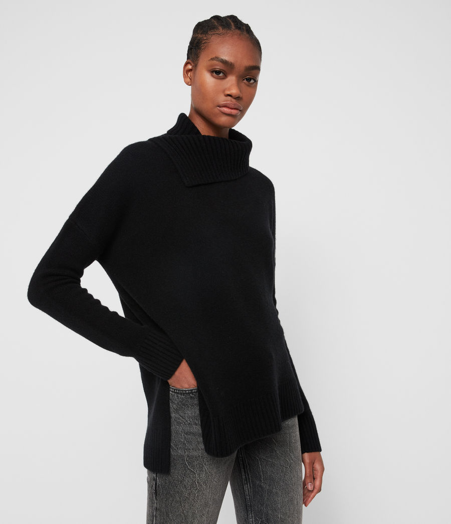 Women's Witby Roll Neck Jumper (black) - Image 5