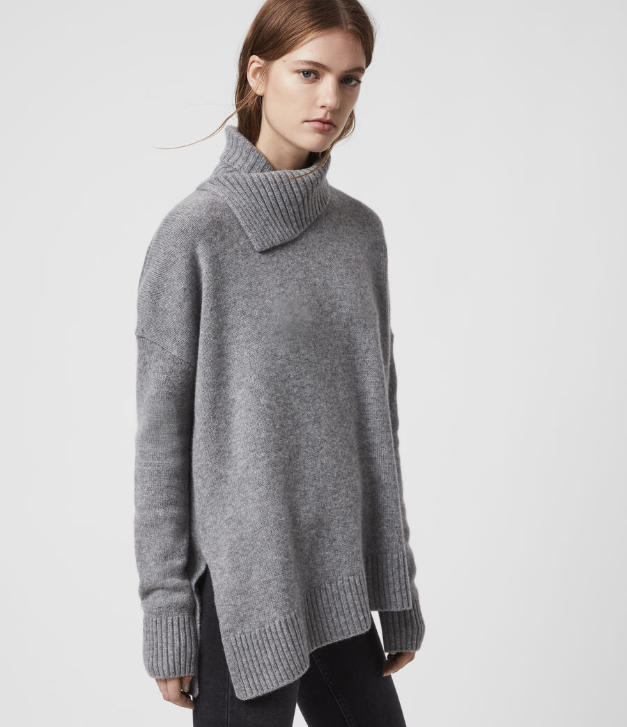 Damen Witby Roll Neck Cashmere Jumper (light_grey_marl) - Image 1