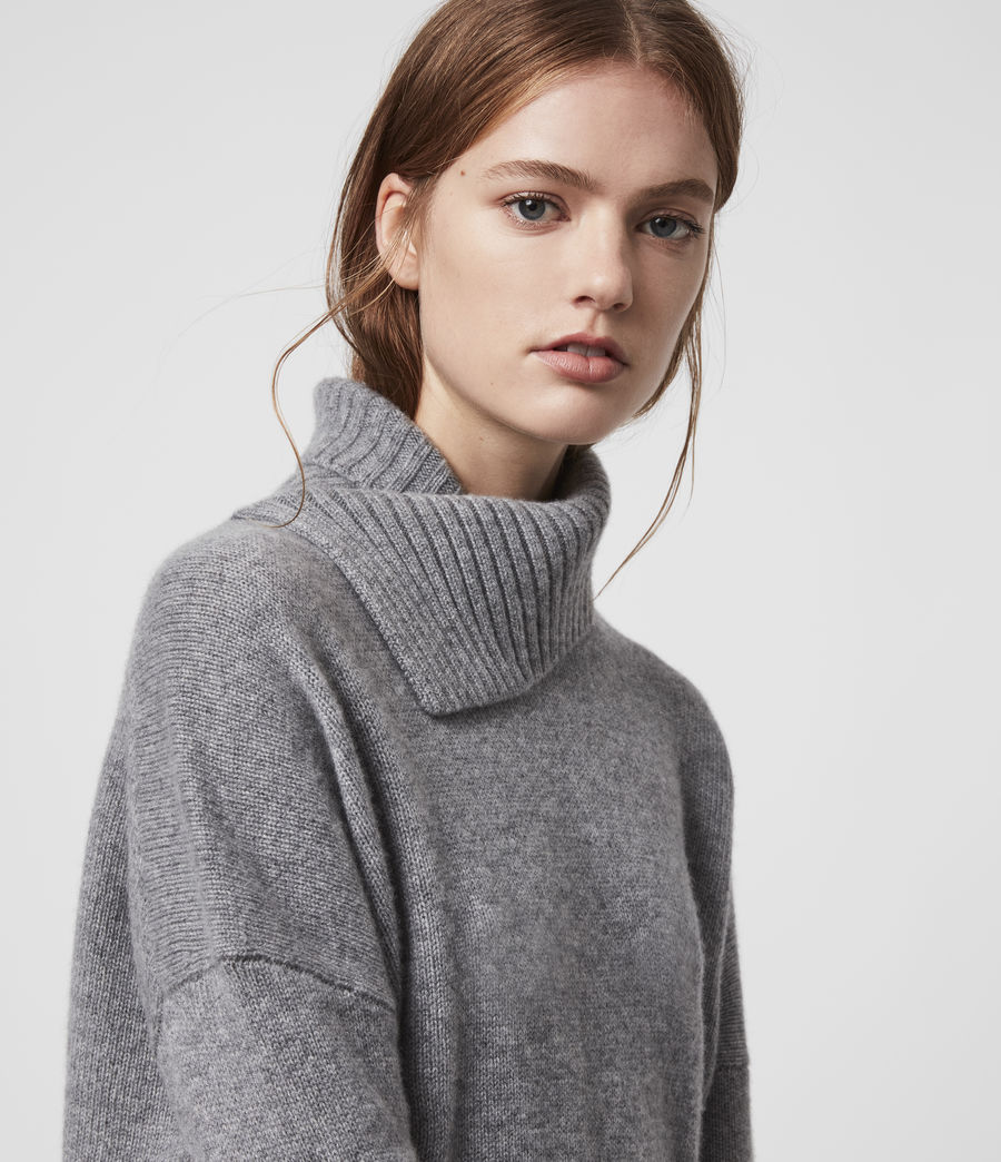 Damen Witby Roll Neck Cashmere Jumper (light_grey_marl) - Image 2