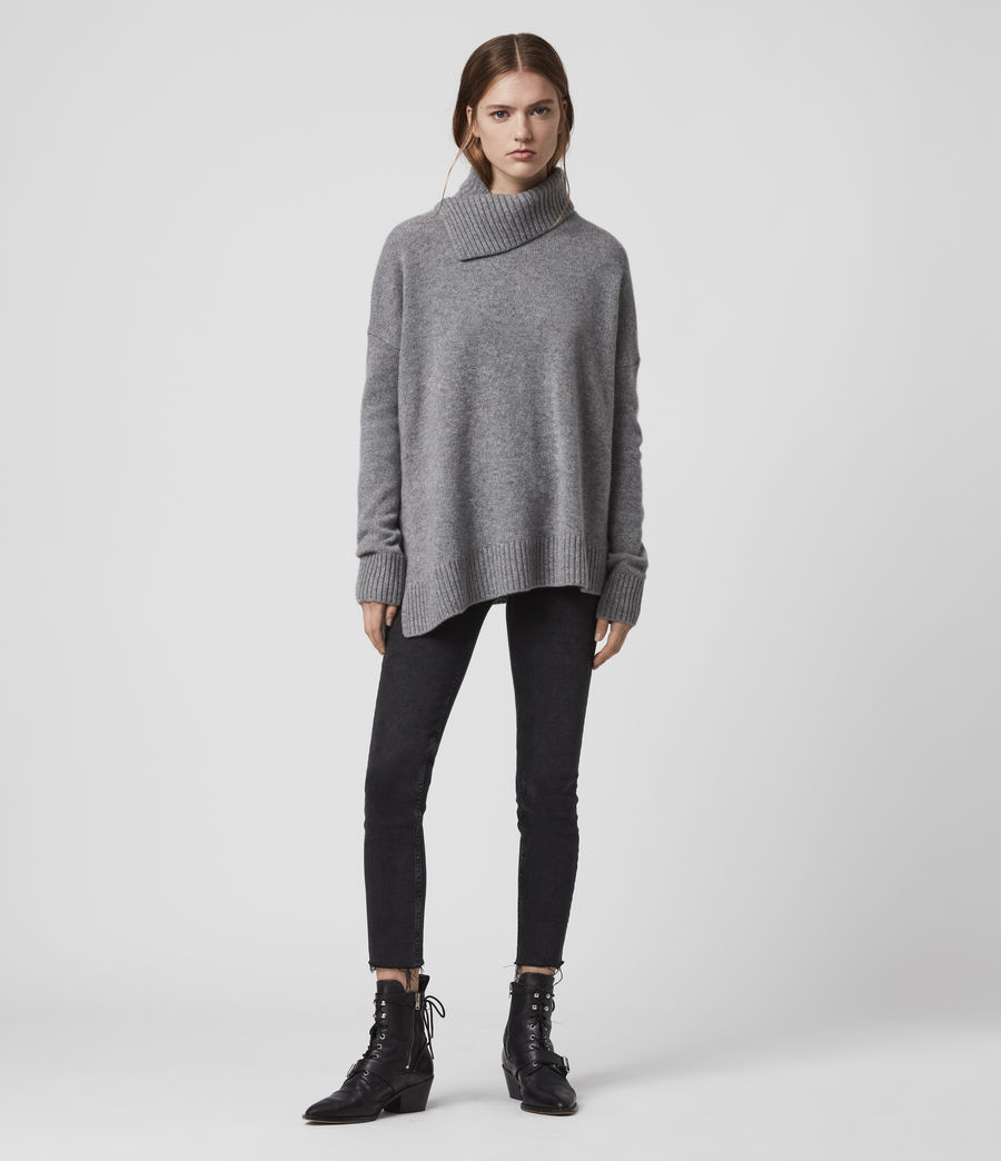 Damen Witby Roll Neck Cashmere Jumper (light_grey_marl) - Image 3