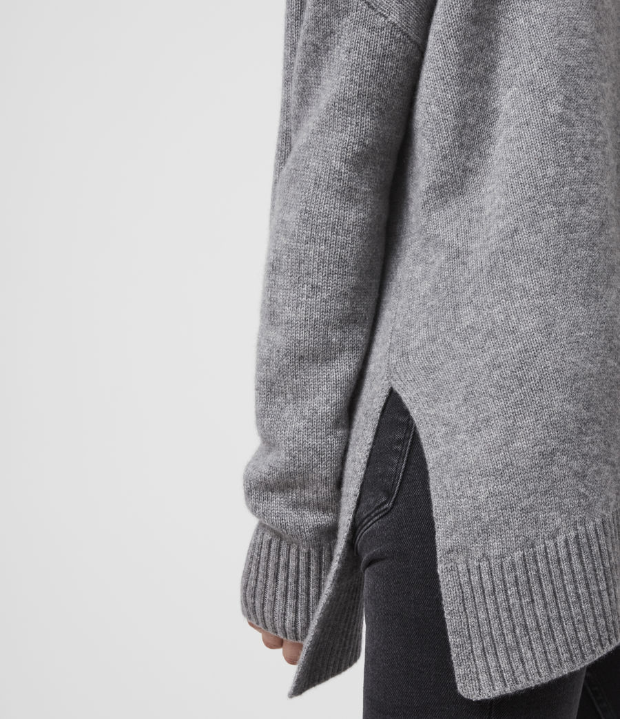 Damen Witby Roll Neck Cashmere Jumper (light_grey_marl) - Image 4