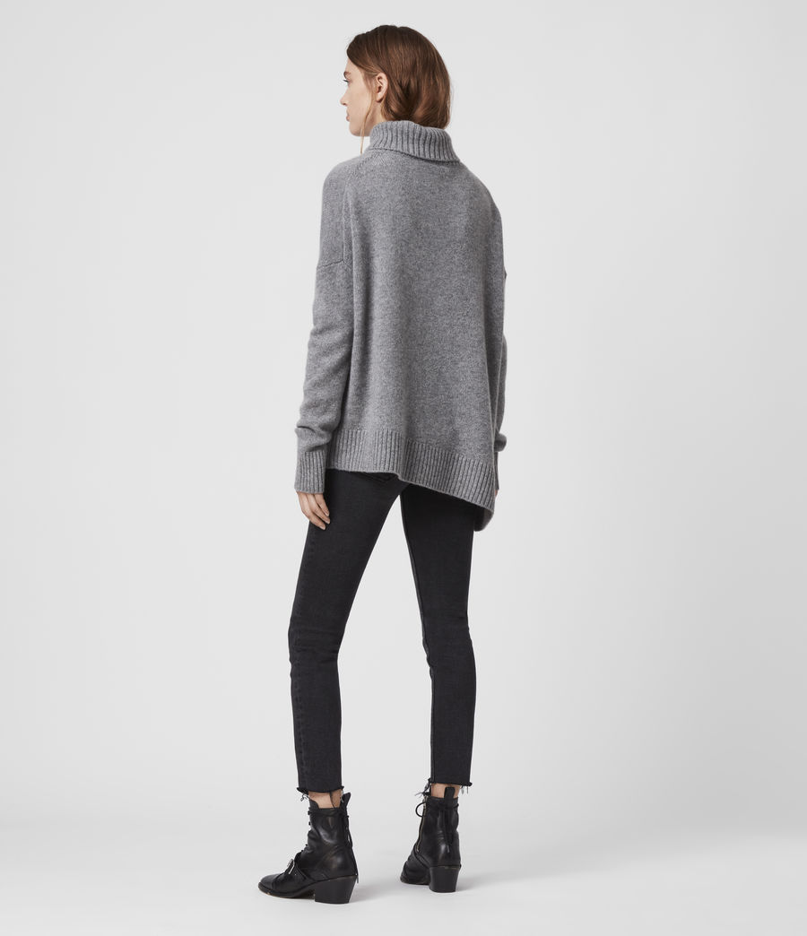 Damen Witby Roll Neck Cashmere Jumper (light_grey_marl) - Image 5