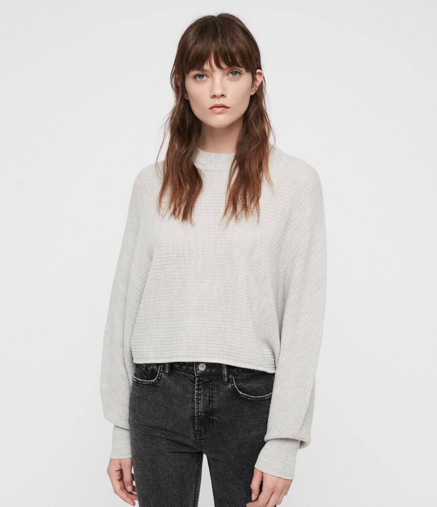 Womens Gene Crew Neck Sweater (grey_marl) - Image 1