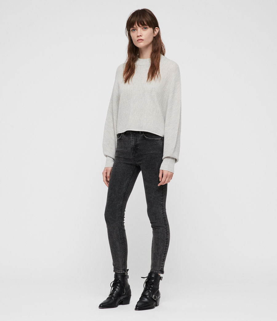 Womens Gene Crew Neck Sweater (grey_marl) - Image 3