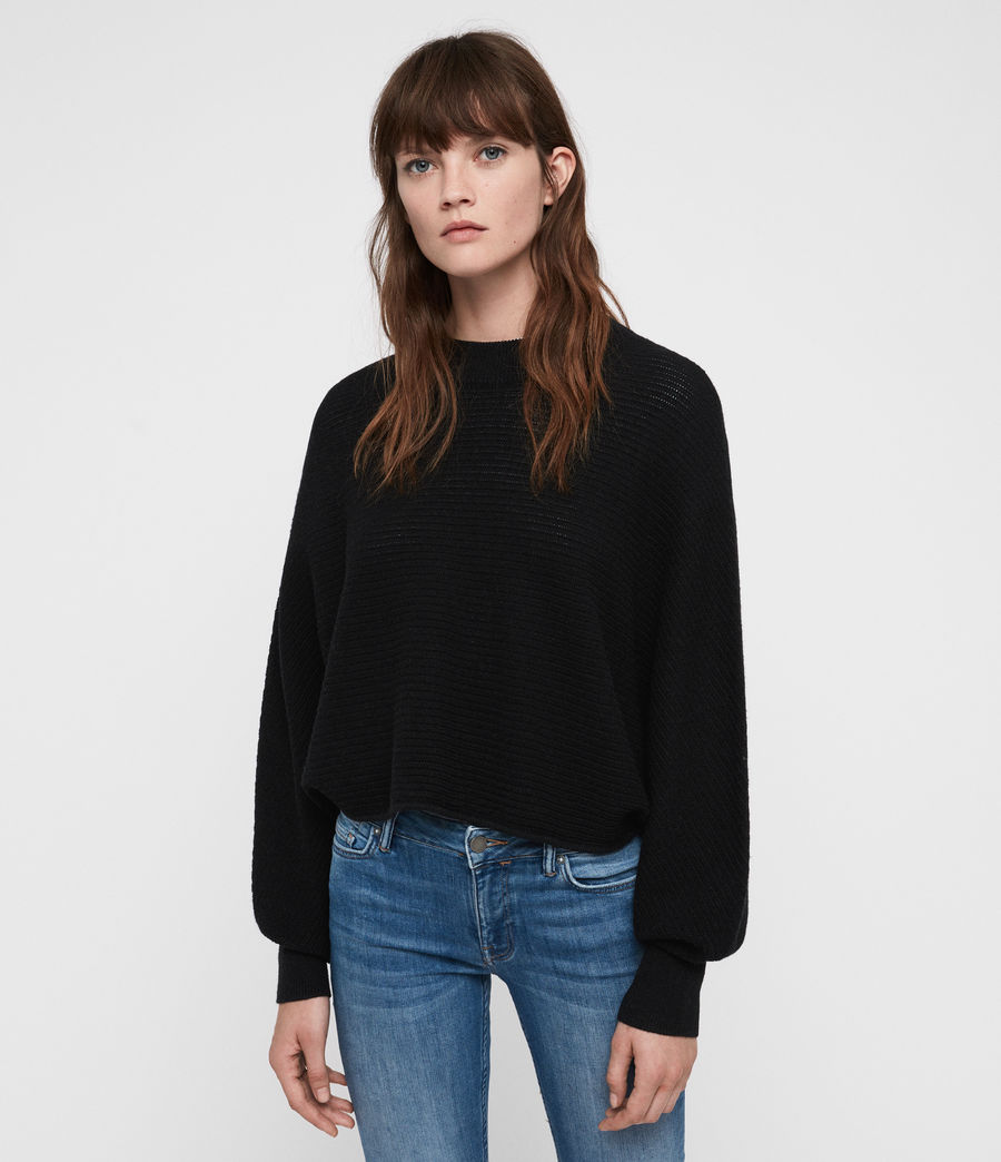 Womens Gene Crew Neck Sweater (black) - Image 1