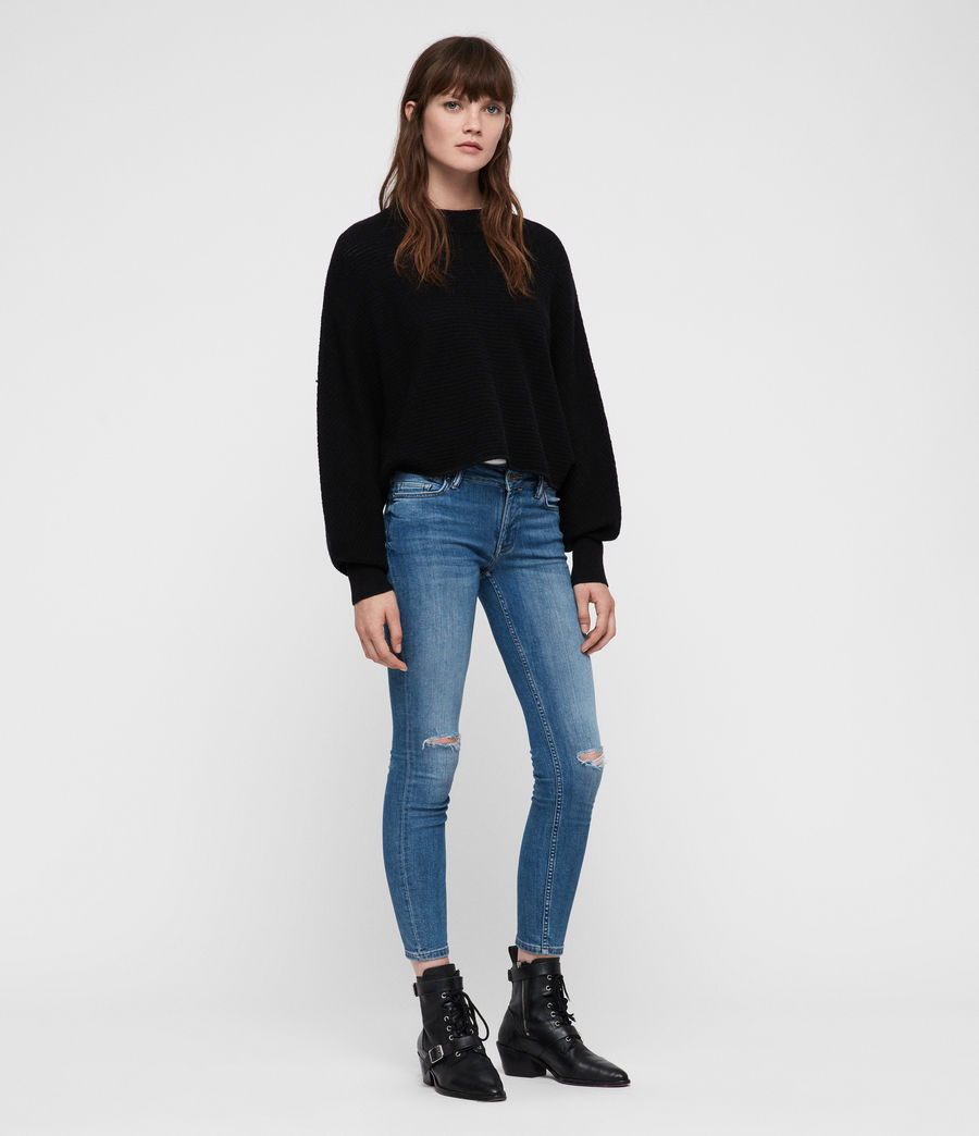 Womens Gene Crew Neck Sweater (black) - Image 3