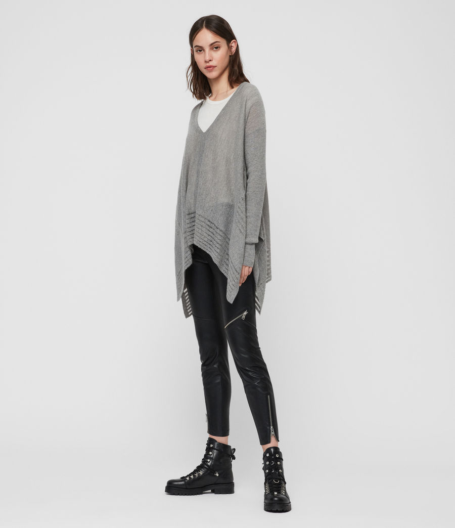 Womens Mara V-Neck Sweater (pale_grey) - Image 5