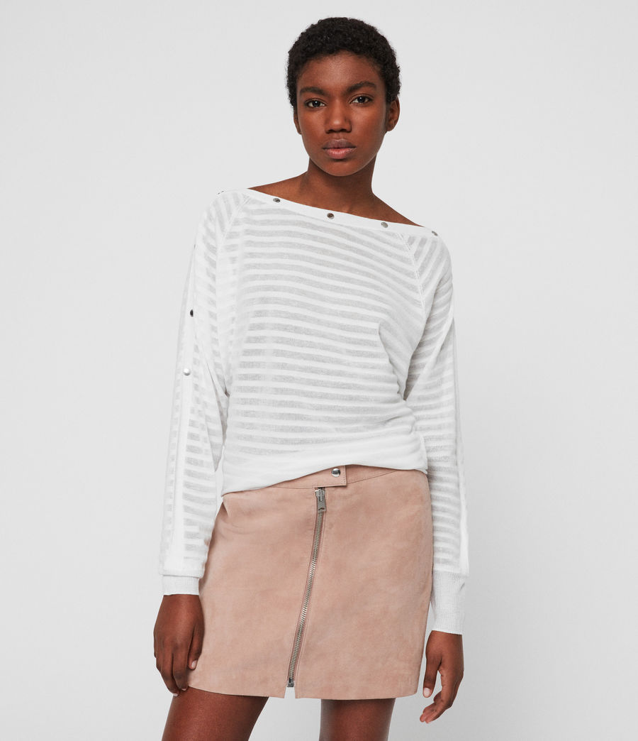 Womens Elle Stripe Sweater (chalk_white) - Image 1