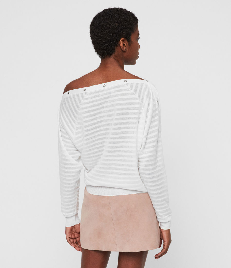 Womens Elle Stripe Sweater (chalk_white) - Image 4