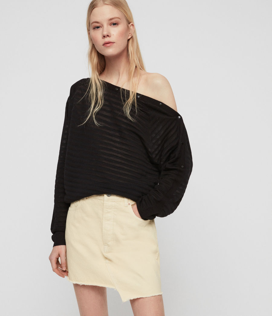 Women's Elle Stripe Jumper (black) - Image 1