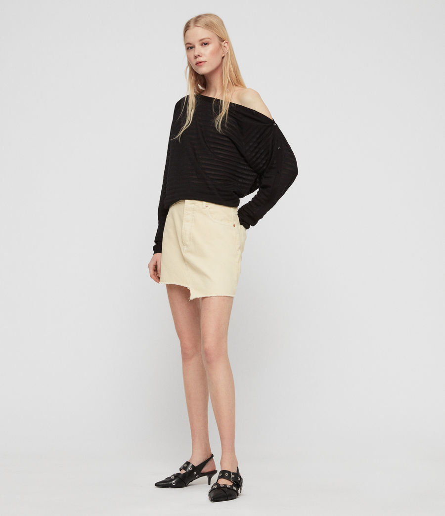 Women's Elle Stripe Jumper (black) - Image 2