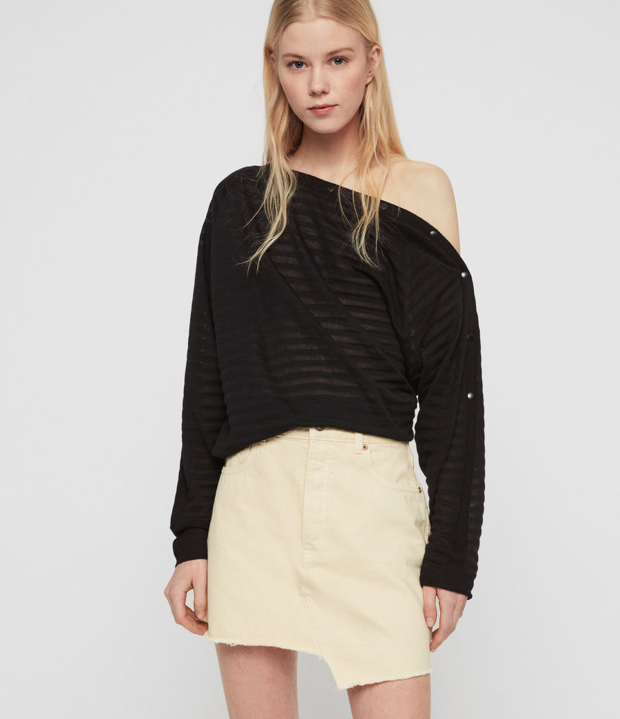 Women's Elle Stripe Jumper (black) - Image 4