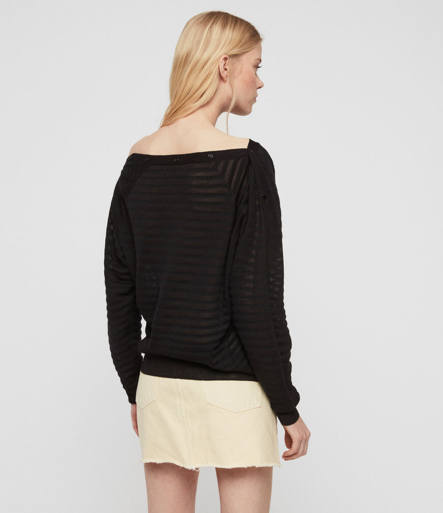 Womens Elle Stripe Sweater (black) - Image 5