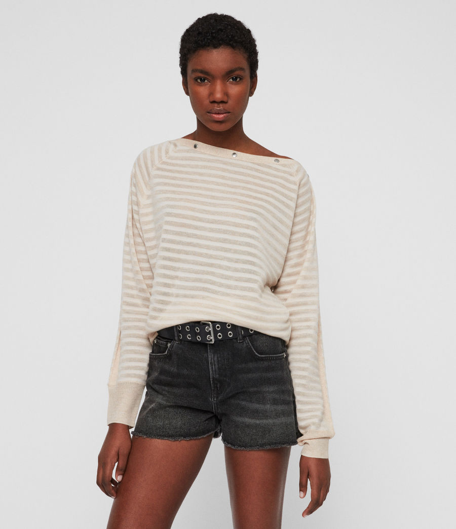 Womens Elle Stripe Sweater (parchment_pink) - Image 1